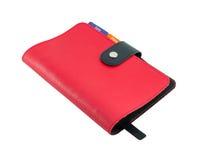 Isolado de couro vermelho do livro do diário no branco com trajeto de grampeamento Fotos de Stock Royalty Free