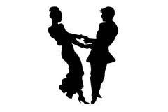 Isolado de duas silhuetas dos pares do tango Imagem de Stock