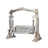 Isolado de madeira do balanço no fundo branco Foto de Stock