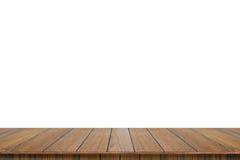 Isolado de madeira vazio do tampo da mesa no fundo branco fotografia de stock royalty free