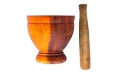 Isolado do almofariz e do pilão de madeira no fundo branco Imagem de Stock Royalty Free