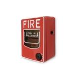 Isolado do botão do alarme de incêndio no fundo branco Imagens de Stock