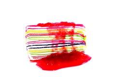 Isolado doce colorido do bolo do crepe no fundo branco Fotos de Stock