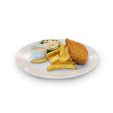 Isolado esmigalhado do peixe com batatas fritas no fundo branco imagem de stock royalty free