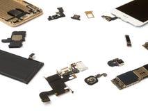 Isolado esperto dos componentes do telefone no fundo branco imagem de stock royalty free