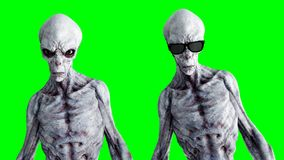 Isolado estrangeiro na tela verde Conceito do UFO Rendição 3d realística Foto de Stock Royalty Free