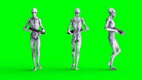 Isolado estrangeiro na tela verde Conceito do UFO Rendição 3d realística Fotos de Stock Royalty Free