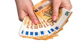 Isolado 50 euro das cédulas Foto de Stock