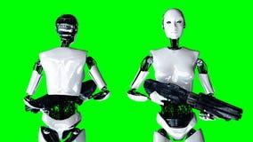 Isolado fêmea do robô do humanoid futurista na tela verde Rendição 3d realística Fotografia de Stock