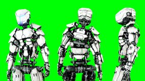 Isolado futurista do robô na tela verde 3d realísticos rendem Fotografia de Stock