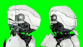 Isolado futurista do robô na tela verde 3d realísticos rendem Fotos de Stock