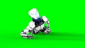 Isolado futurista do robô na tela verde 3d realísticos rendem Imagens de Stock Royalty Free