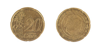 Isolado 20 moedas do centavo de Euro Fotos de Stock