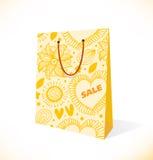Isolado no papel amarelo decorativo do bolso branco ilustração do vetor
