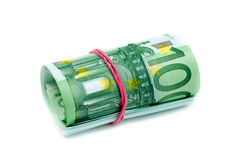 Isolado 100 rolado Euro no branco Foto de Stock