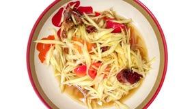 Isolado salgado da salada e do caranguejo da papaia Fotografia de Stock