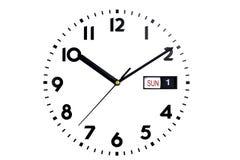 Isolado Vista superior da face do relógio O seletor dos relógios As mãos no pulso de disparo Calendário, domingo, primeiro dia Fotos de Stock Royalty Free