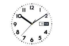 Isolado Vista superior da face do relógio O seletor dos relógios As mãos no pulso de disparo Calendário, sexta-feira, dia 13 Fotografia de Stock