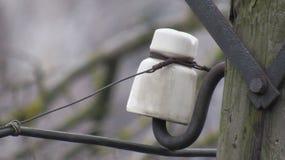 Isolador linear bonde velho no polo de madeira Fotografia de Stock Royalty Free
