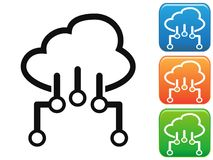 Cloud network connection button icons set vector illustration