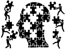 Teamworks in head puzzle. Isolaetd teamworks in head puzzle from white background Royalty Free Stock Photography