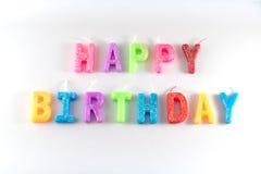 Isolamento della candela di buon compleanno su bianco Fotografia Stock