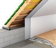 Isolamento termico dei tetti della casa e dell'installazione di un pavimento caldo 3d Fotografia Stock Libera da Diritti