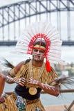 Isolano dello stretto di Torres in costume tradizionale Fotografia Stock Libera da Diritti
