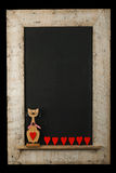 Isolant de Cat Chalkboard Reclaimed Wood Frame d'amour de valentines de vintage Images stock