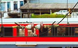 Isolante elettrico sul catenaria del treno Immagine Stock Libera da Diritti