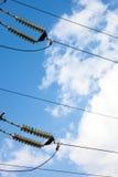 Isolanti della trasmissione di energia elettrica ad alta tensione Fotografia Stock Libera da Diritti