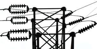 Isolants de ligne électrique Images stock
