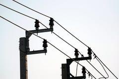 Isolants de ligne électrique image libre de droits