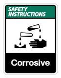 Isolat corrosif de signe de symbole d'instructions de sécurité sur le fond blanc, illustration de vecteur illustration de vecteur