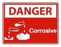 Isolat corrosif de signe de symbole de danger sur le fond blanc, illustration de vecteur illustration de vecteur