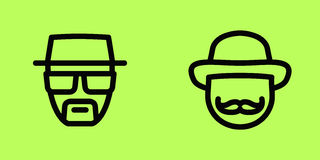 Isolat d'icônes de vecteur de visage de personnes Photo libre de droits