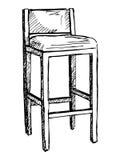 Isolat de chaise de barre sur le fond blanc Illustration de vecteur dans un style de croquis Photo stock