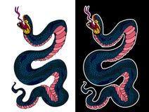 Isolat de cobra de serpent sur le fond blanc images libres de droits