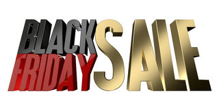 Isolat de rendu de la vente 3d de Black Friday sur le blanc Images stock