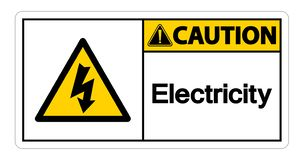 Isolat de signe de symbole de l'?lectricit? de pr?caution sur le fond blanc, illustration de vecteur illustration stock