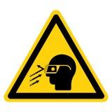 Isolat de signe de symbole de verres de sûreté d'usage de débris volants sur le fond blanc, illustration de vecteur illustration stock