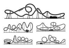 Isolat de silhouettes de vecteur de montagne russe sur le fond blanc Illustration de parc d'attractions illustration stock