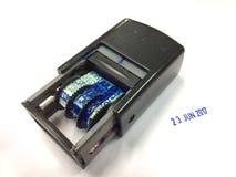 Isolat de tampon en caoutchouc de date sur le blanc Image stock