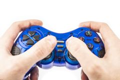 Isolat disponible de manette bleue images libres de droits