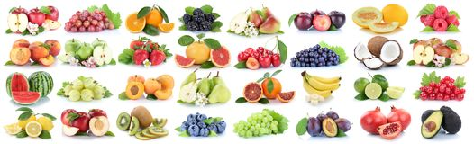 Isolat för bär för citron för äpple för fruktfruktsamling ny orange royaltyfri bild