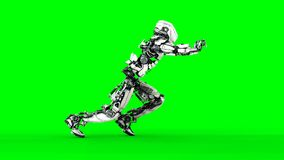 Isolat futuriste de robot sur l'écran vert 3d réalistes rendent illustration libre de droits