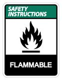 Isolat inflammable de signe de symbole d'instructions de sécurité sur le fond blanc, illustration de vecteur illustration libre de droits