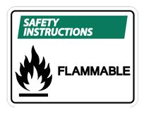 Isolat inflammable de signe de symbole d'instructions de sécurité sur le fond blanc, illustration de vecteur illustration de vecteur