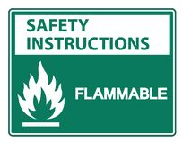 Isolat inflammable de signe de symbole d'instructions de sécurité sur le fond blanc, illustration de vecteur illustration stock