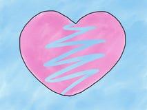 Isolat rose de forme de coeur cassé par griffonnage abstrait de croquis d'aspiration de main sur le fond bleu, illustration, styl photographie stock libre de droits
